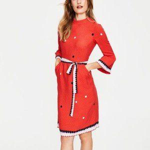 Boden Armelle Spot Dress, Red Pop Spot Size 10